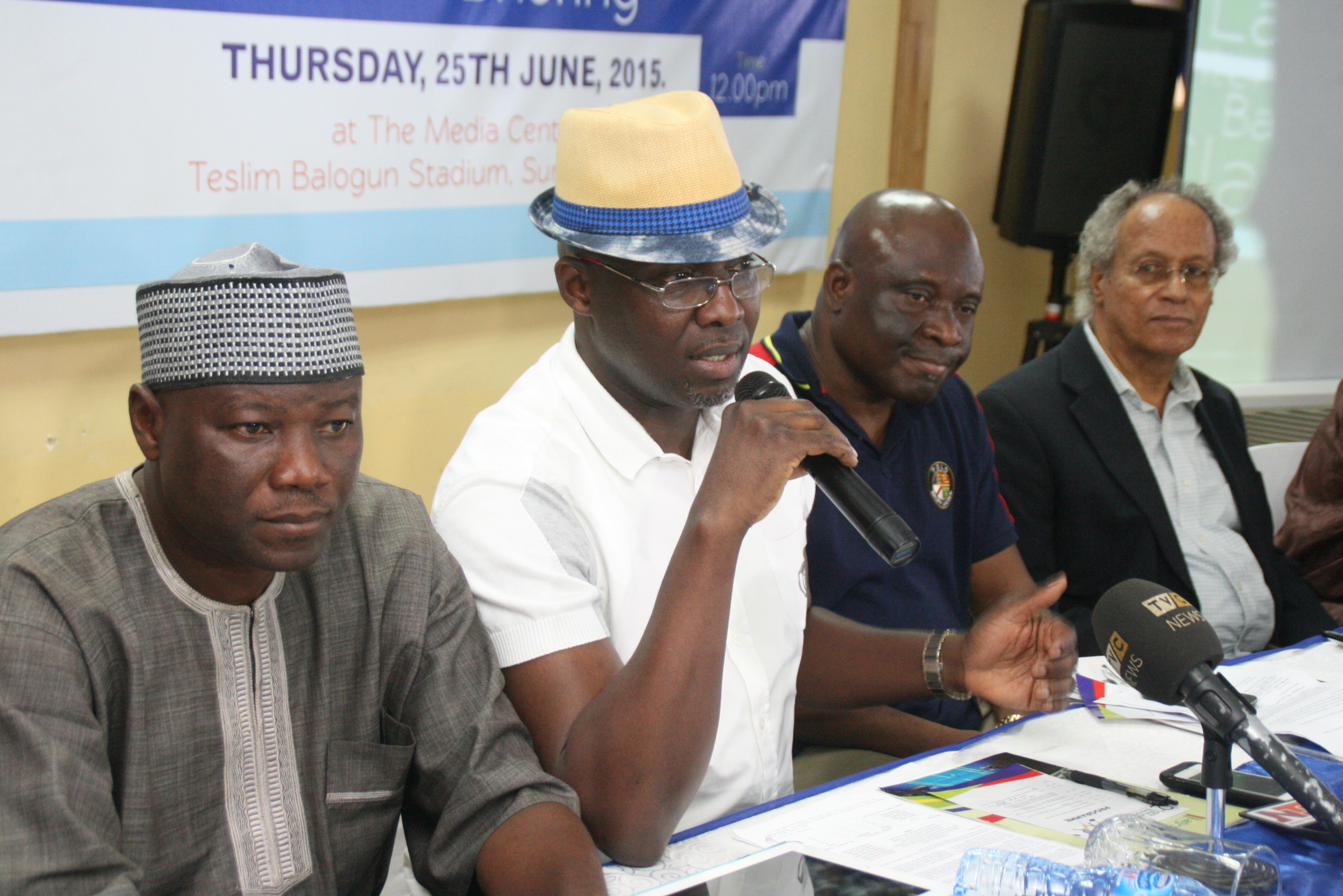 L-R; Technical Director, Badminton Federation of Nigeria Mr. Tunde Kazeem, Chairman, Lagos State Badminton Association , Mr. Francis Orbih; Permanent Secretary , Lagos State Ministry of Youth, Sport and Social Development , Mr. Whenu Oluseyi; and Vice President , Nigerian Olympic Committee , Mr. Babatunde Fatayi-Williams, at  a press conference to inaugurate the 2rd Lagos International Badminton Classics in Lagos …on Thursday