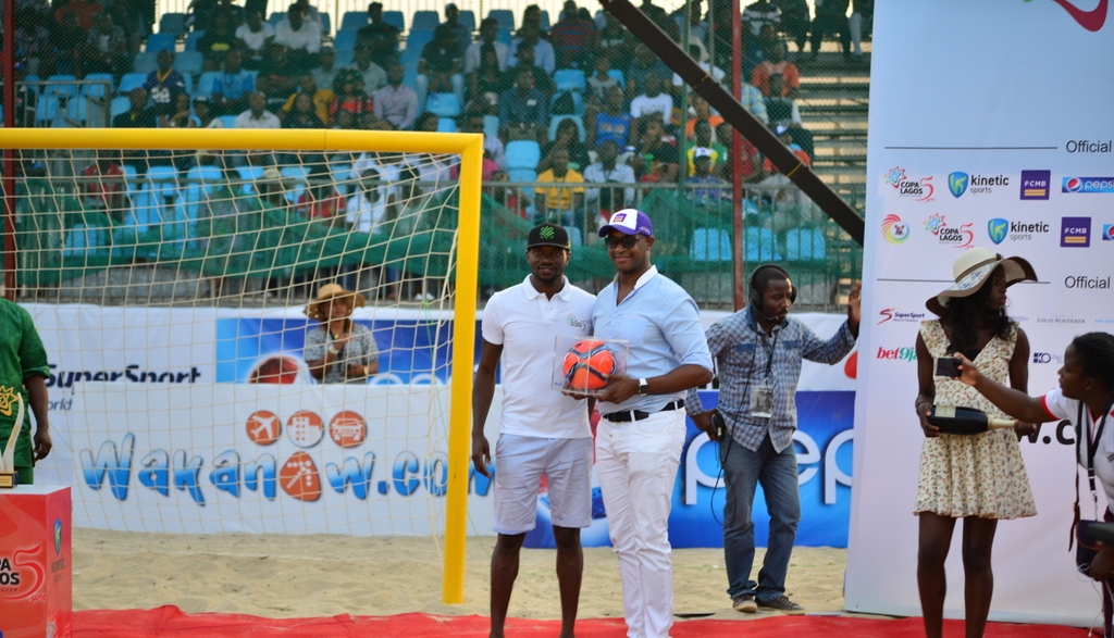 The CEO of First City Monument Bank (FCMB), Mr. Ladi Balogun, with the CEO of Kinetic Sports, Mr. Samson Adamu.