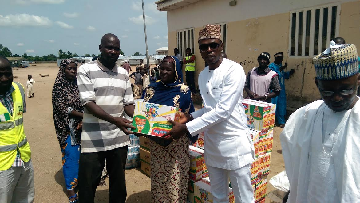 From L: Chairman, IDP camp, Nicolas Samuel; Women leader, Fatima Hassan; Divisional Managing Director, Red Star Freight, Tonye Preghafi and Director, Red Star Express Plc, Alhaji Aminu Dangana at the presentation of relief materials to Internally Displaced Persons (IDPs) by Red Star Foundation in Malkohi, Yola, Adamawa State on June 16th, 2017.