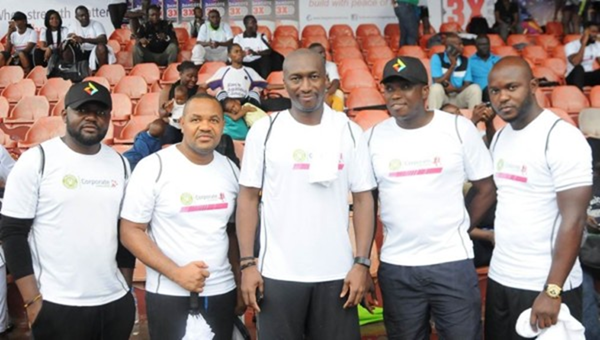 L – R : Uchenna Nwobi, Sponsorship and Events Officer; Udoka Oguamanam, Team Lead, New Media, all of Diamond bank Plc ; Acting CEO, Central Securities Clearing System Plc, Bola Adeeko; Eze Anyanwu, Media Relations Officer ; and Chiwuzie Anabuike, Digital Media Officer, all of Diamond Bank Plc at the 2017 NSE Corporate Challenge held at Onikan Stadium recently.
