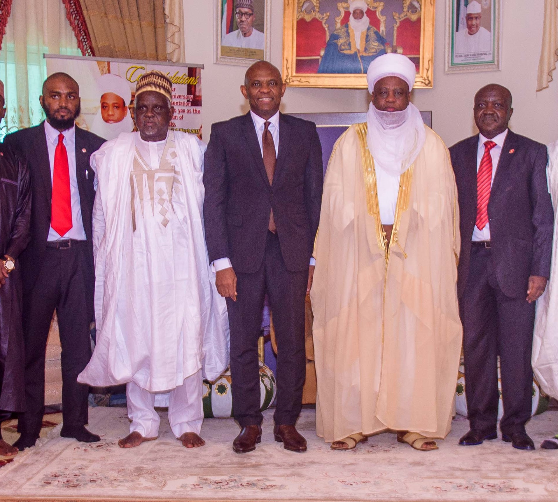 "l-r: Usmanu Danfodiyo University, Sokoto (UDUS) Alumni & Tony Elumelu Entrepreneur, Dr, Shadi Sabeh ;Vice Chancellor, Usmanu Danfodiyo University, Sokoto (UDUS), Professor Abdullahi Abdu Zuru; Chairman, UBA Plc and Founder, Tony Elumelu Foundation, Tony O. Elumelu; The Sultan of Sokoto, Sa'ad Abubakar III; and Executive Director, North, UBA Plc. Ibrahim Puri, when Tony Elumelu paid a courtesy visit to the Governor ahead of the National Dialogue Series where Elumelu  spoke on ""Entrepreneurship: An Antidote to Nigerian Youth Unemployment"", at the Usmanu Danfodiyo University in Sokoto on Saturday"