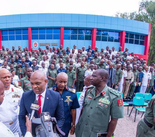 "Chairman, Heirs Holdings , Tony Elumelu addressing journalists after delivering lecture at the Guest Lecture Series of the Armed Forces Command and Staff College, Jaji where Elumelu delivered a paper titled ""Leadership: Private Sector Perspective"" at the background are participants"