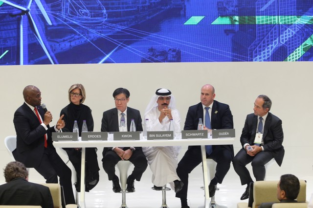 "Chairman, UBA Plc, Mr. Tony Elumelu; Chairman/CEO, POSCO Group, Mr. Ohjoon Kwon; CEO, Société Générale, Mr Frederic Oudea; President & Co-Chief Operating Officer, Goldman Sachs, Mr. Harvey Schwartz; Group Chairman and CEO, DP World, Sultan Ahmed Bin Sulayem;  CEO of Asset & Wealth Management, J.P. Morgan, Ms. Mary Callahan Erdoes, at the plenary session titled: ""Dynamic Economies: What Are the New Ways To Solve Diversification?, moderated by Erik Schatzker, Editor-at-large, Bloomberg TV, organised by Future Investment Initiative in Riyadh, Saudi Arabia on Tuesday"