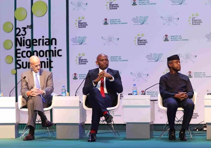l-r: John Rice, Vice Chairman GE; Tony Elumelu, Chairman Heirs Holdings and Vice President Of Nigeria, Professor Yemi Osibanjo during the  preliminary panel discussion titled: Opportunities, Productivity and Employment: Actualising the Economic Recovery and Growth Plan, at the  23rd Nigerian Economic Summit in Abuja on Monday;