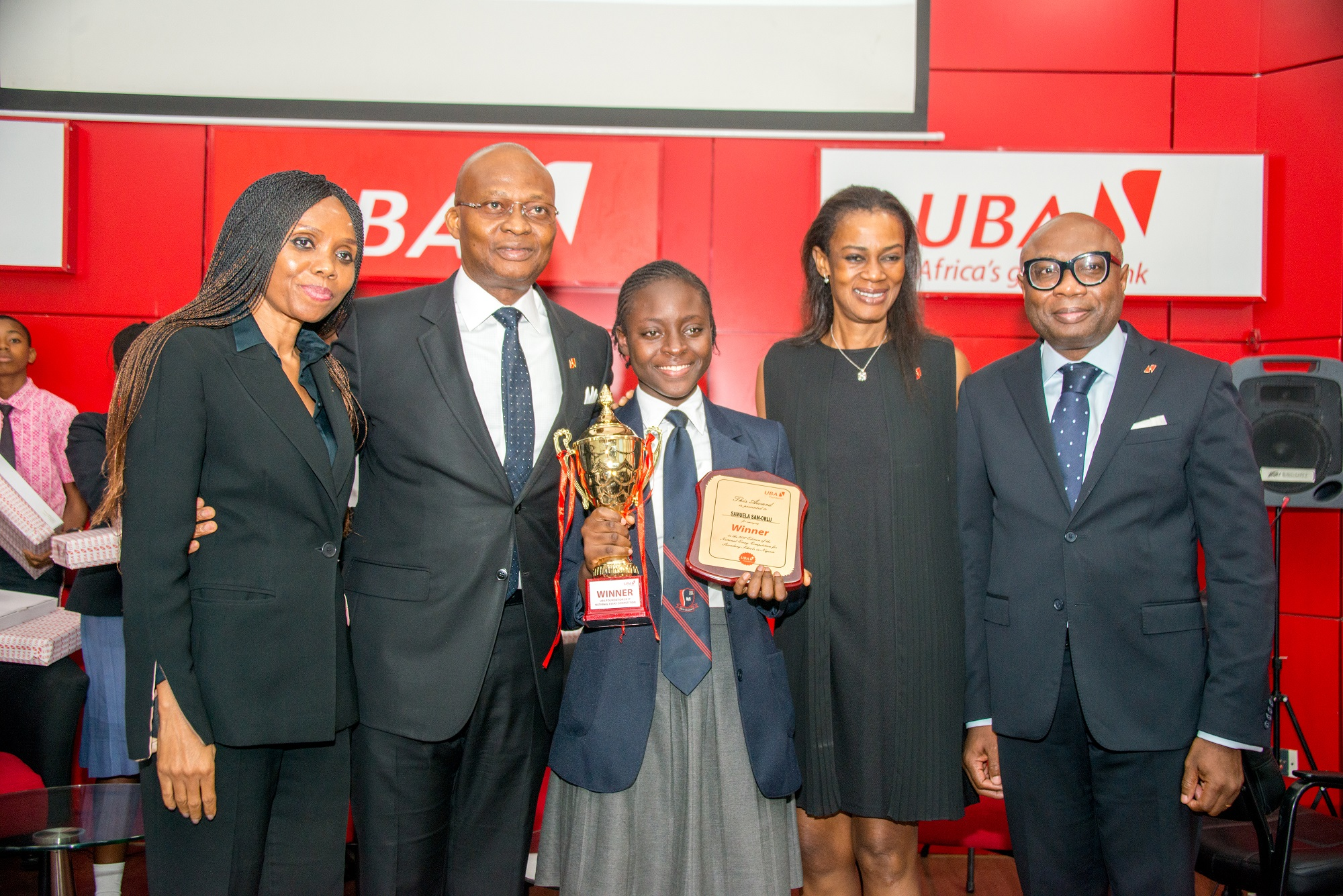 l-r:  Group Head, Human Resources, United Bank for Africa (UBA) Plc, Patricia Aderibigbe; GMD/CEO, UBA Plc, Mr. Kennedy Uzoka; Overall Winner of the 2017 UBA Foundation National Essay Competition and Student of British Nigerian Academy, Miss Samuella Sam-Orlu; Managing Director/CEO, UBA Foundation, Bola Atta; and Group Head, Secretariat & Corporate Services, UBA Plc, Bili Odum during the Grand finale and prize giving ceremony of the UBA Foundation National Essay Competition, held at UBA House in Lagos on Monday