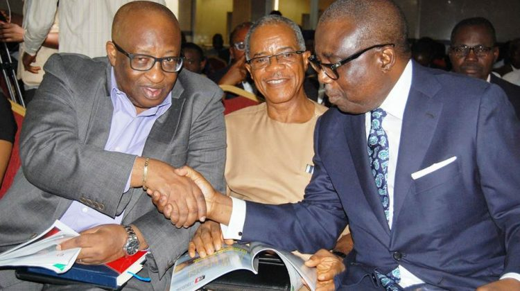 """L-R: Director General, West African Institute for Financial and Economic Management (WAIFEM), Professor Akpan Hogan Bassey; President, Bank Customers Association of Nigeria (BCAN), Dr. Uju Ogubunka; Chairman, Board of Directors, Fidelity Bank Plc, Ernest Ebi; at the Bullion Lecture 2018 themed """"The Wealth of Nations and the Imperative of Economic Transformation"""" and organised by the Centre For Financial Journalism and co-sponsored by Fidelity Bank, in Lagos on Wednesday."""